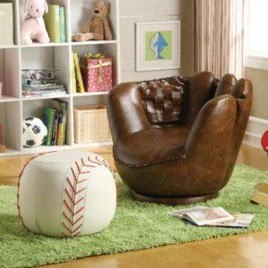 Baseball Gifts - Baseball Glove Chair with Baseball Ottoman