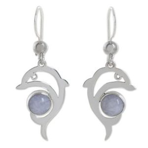 Dolphin Gifts - Lavender Jade and Sterling Silver Dolphin Earrings