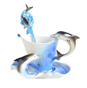 Dolphin Gifts - Porcelain Dolphin Teacup Set