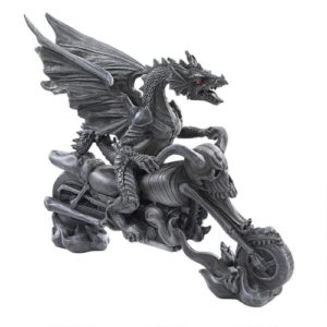 Dragon Gifts for Him - Biker Dragon on Skeleton Chopper