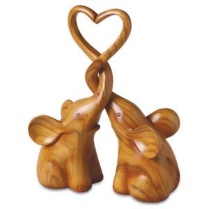Elephant Gift Ideas for Her - Loving Elephants Sculpture with Heart
