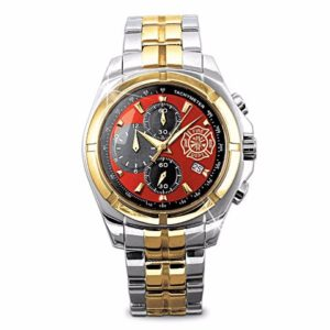 Gifts for Firefighters - Men's Firefighter Watch With Engraved Maltese Cross