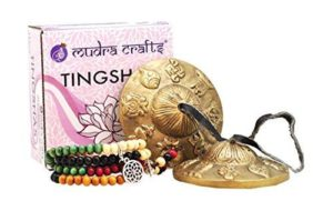 Gifts for Yoga Lovers - Handmade Tibetan Bell Chimes Cymbal Set with Wooden Prayer Beads Mala
