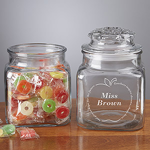 Personalized Gifts for Teachers - Inspiring Teacher Personalized Glass Treat Jar