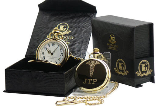 Gifts for Doctors - Monogrammed Gold-Plated Caduceus Pocket Watch