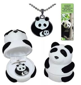 Panda Gifts - Panda Mother and Cub Pendant Necklace in Panda-Shaped Gift Box