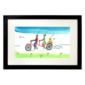 cycling gifts - Personalized Couple Tandem Bike Art
