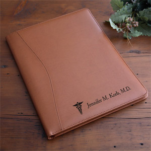 Personalized Gifts for Doctors - Personalized Tan Leather Medical Notes Portfolio