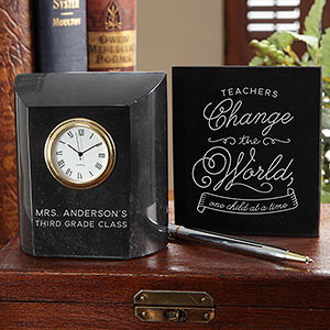 Teacher Appreciation Week Gift Ideas - Time To Change The World Personalized Teacher Marble Desk Clock