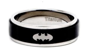 Unique Valentine's Day Gifts for Him - Titanium Batman Spinner Ring