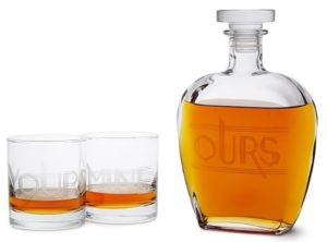 "Unique Valentine's Day Presents for Him - ""Yours, Mine, and Ours"" Engraved Decanter Set"